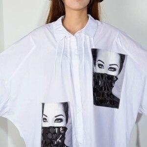 Image 5 - [XITAO] فستان بطبعة مطرزة بمقاسات كبيرة للنساء بياقة مقلوبة مُزين برسومات واحدة ملابس للنساء 2019 جديد XJ1509