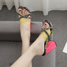 Liren 2019 Summer New Fashion Sexy Snakeskin Slippers Mixed Colors Square High Heels Open Round Toe Lady Outside