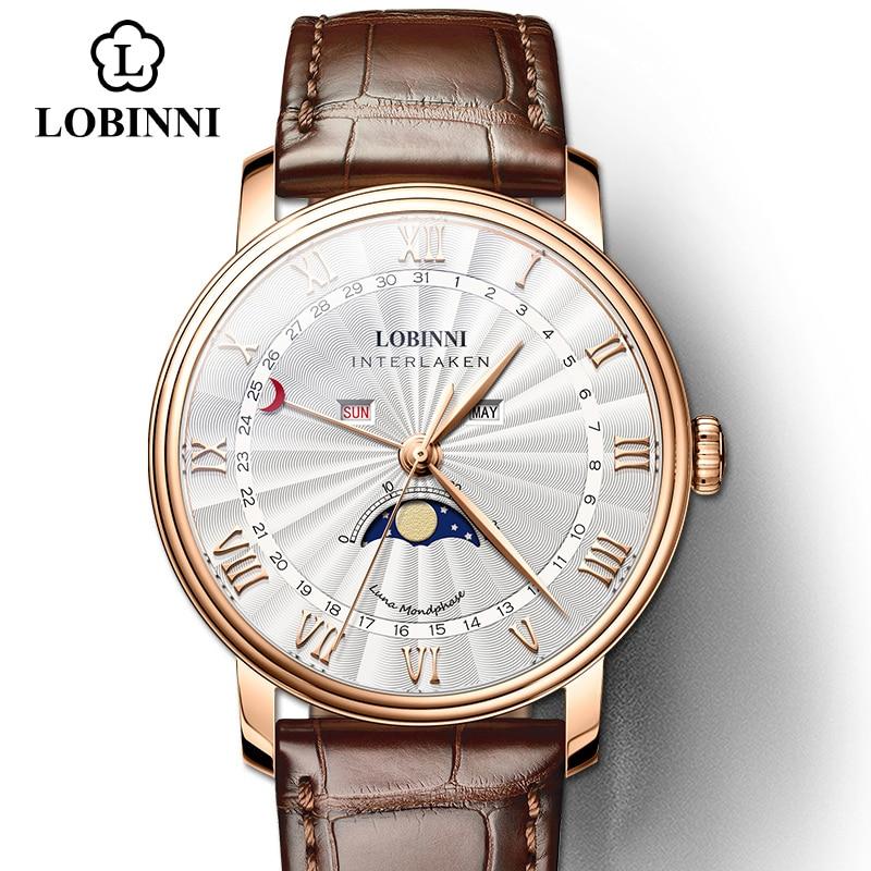 LOBINNI japon mouvement montre hommes montre à Quartz marque de luxe montre-bracelet saphir étanche squelette hommes montre en cuir montre