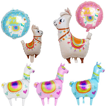 Cute Alpaca Balloons for Birthday Party Decorations Aluminum Foil Balloons Foil Helium Balloon Cartoon Decorative Balloons 1Pcs image