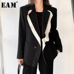Женский блейзер с отложным воротником EAM, черный свободный пиджак с длинными рукавами, весна-осень 2020, 1W519