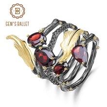 GEMS balet 2.75Ct naturalny czerwony granat kamień palec pierścień 925 srebro Vintage Gothic pierścienie dla kobiet biżuterii