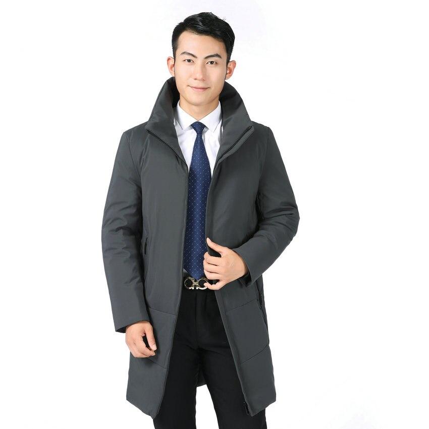 Winter Men Business Casual Puffer Parkas Dark Gray Black Long Puff Overcoats Male Stand Collar  Thick Warm Lightweight Outerwear