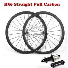 Juego de ruedas de bicicleta de carretera superligeras 700C 38/50/60/88mm con tracción recta R36, superficie de freno de basalto, Cubo de carbono