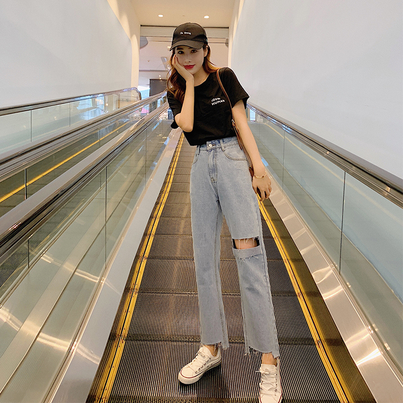 Ripped Jeans Straight Pants Nine Points Pants 2020 New Korean Version Of The Wild High Waist Spring Women Jeans Style Waist Type