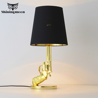 Post modern Silvery Gold AK47 Gun Table Lamp Nordic Bedroom Light LED Table Lights Bedside Lamp Study E27 Desk Lamp Luminaries