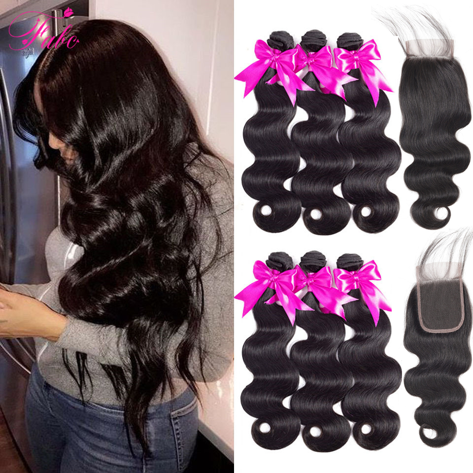 Hfcc958042c234a0a91258894249a45deP FABC Hair Brazilian Hair Weave Bundles With Closure Pre Plucked Body Wave Human Hair Middle Ratio Non Remy Hair Natural Black