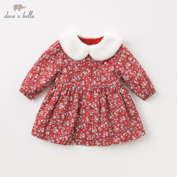 DB11589 dave bella winter baby girl's princess cute fur foral bow dress children fashion party dress kids infant lolita clothes image