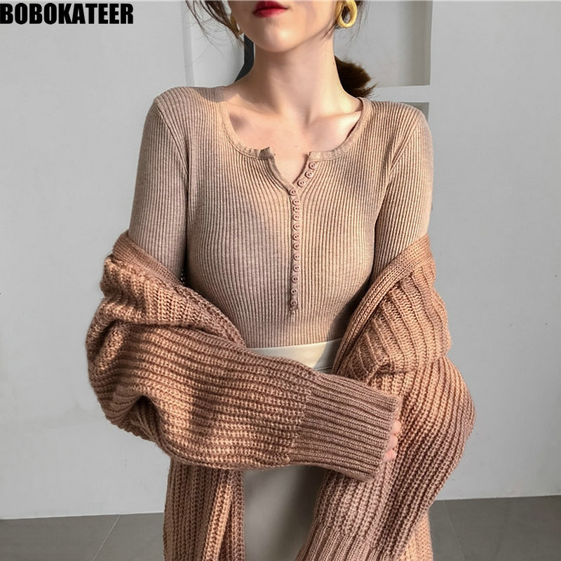Knitted Spring Sweater Women Tops Vintage White Pullover