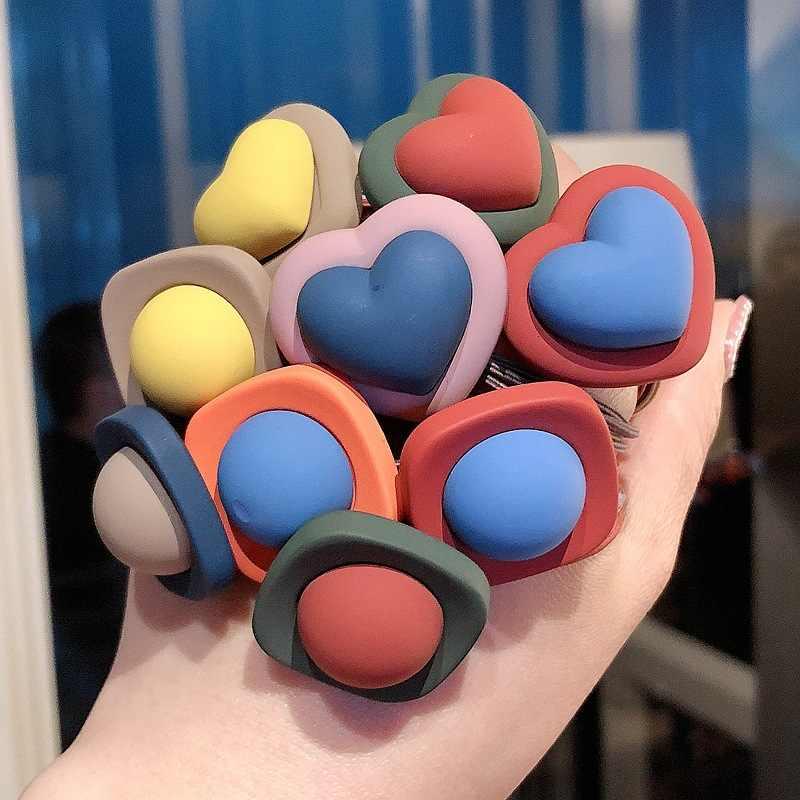 Coreano de corazón cuadrado elástico cintas de goma para el pelo Candy corazón pelo dulce y encantador, accesorios para el cabello para las mujeres