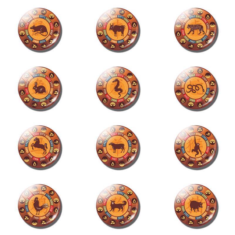 จีน Zodiac ตู้เย็นแม่เหล็กตู้เย็นสติกเกอร์ของขวัญเมาส์วัวเสือกระต่ายงูม้าแกะลิงไก่สุนัขหมู