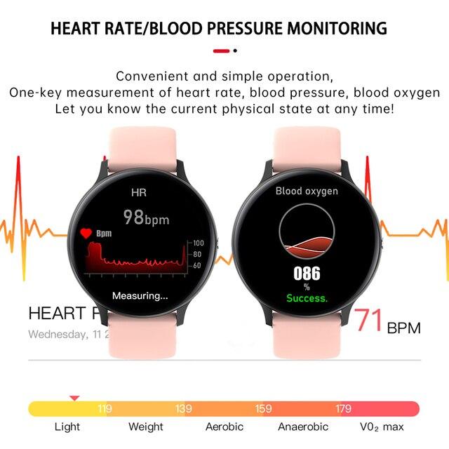 Lige mulher telefone bluetooth relógio inteligente mulher à prova dwaterproof água esportes fitness relógio de saúde rastreador 2020 novo jogador de música smartwatch 5