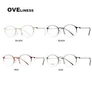 Image 3 - 純チタンレトロラウンドメガネフレーム女性男性 2020 光学コンピュータ眼鏡近視処方透明ガラス眼鏡