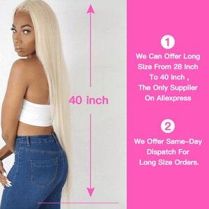 Image 5 - KÖNIGIN SCHÖNHEIT 613 Blonde Gerade Brasilianische Haarwebart Menschliches Haar Bundles mit Verschluss 3PC Remy Haar und 1PC spitze Frontal Schließung