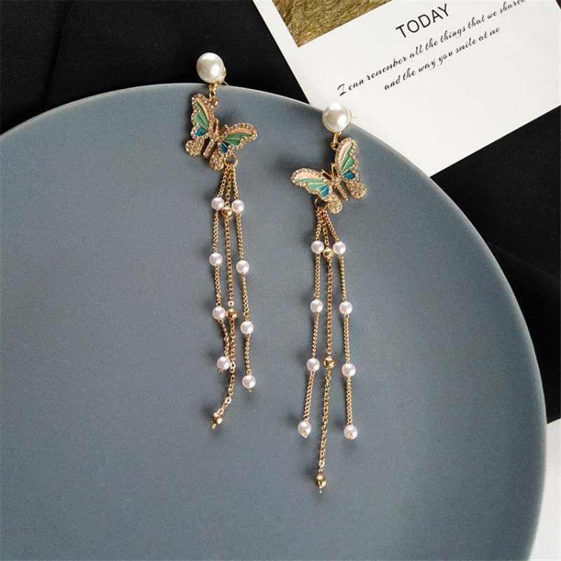 Crystal Butterfly Long Earrings For Women Luxury Bohemia Imitation Pearl Tassel Drop Earrings