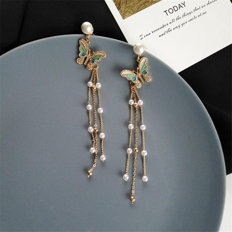 Crystal Butterfly Long Earrings For Women Luxury Bohemia Imitation Pearl Tassel Drop Earrings