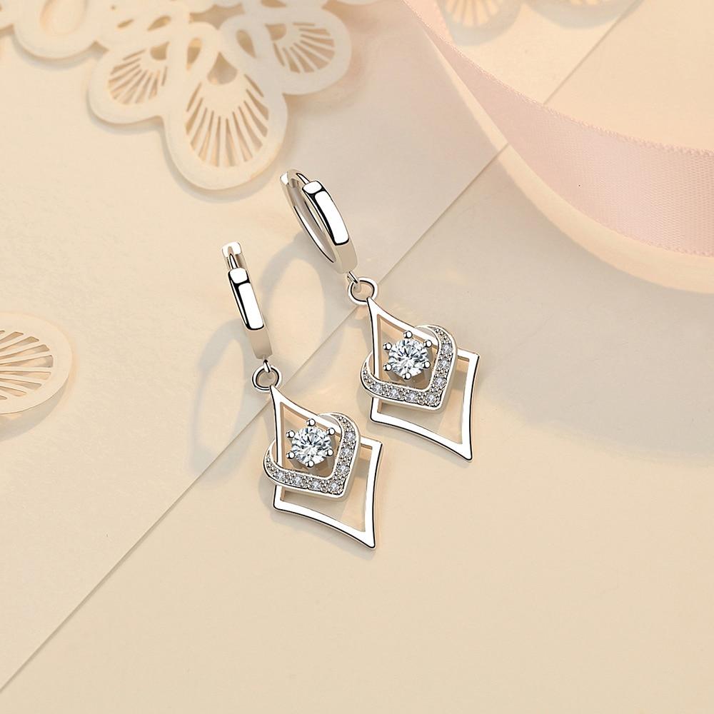 925 sterling silver earrings drop Geometric shape zircon Christmas gift Micro Inlay cubic zirconia earrings for women 2019 black