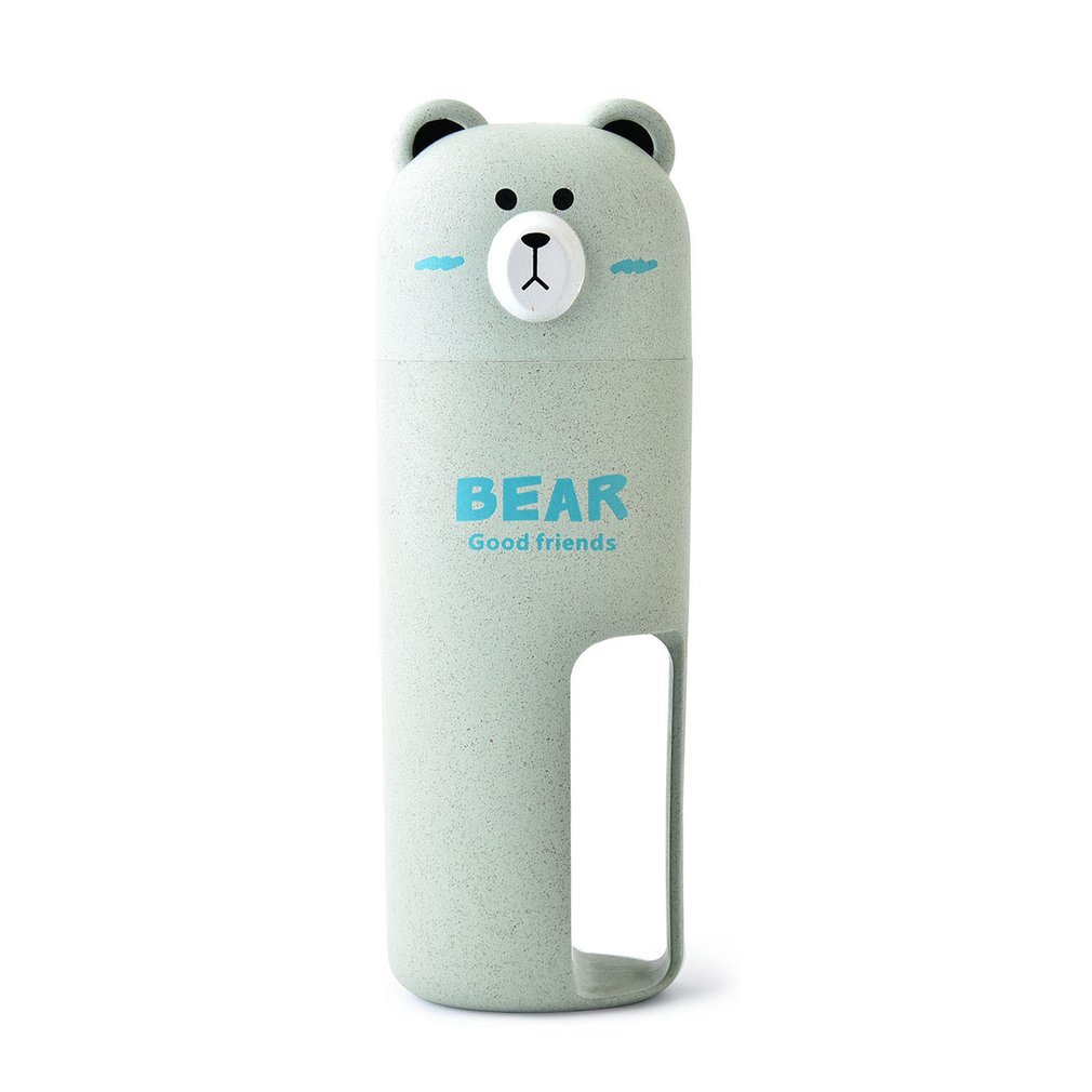 Creative Cartoon Bear Toothbrush Case Set Toothpaste Holder Portable Wash Organizer Cup With 2Pcs Tooth Brush For Traveling