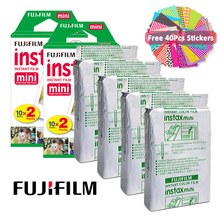 Fujifilm Instax Mini filmy 40 sztuk Mini biały papier fotograficzny do Fujifilm Instax Mini 9 Instax Mini 8 25 50s 90 70 SP-1 aparat + prezent tanie tanio Instax White Film JP (pochodzenie) White Film Photo Paper 86x54mm 3 39 x2 13 62x46mm 2 44 x1 81 2 x 20Pcs Stickers 40 sheets