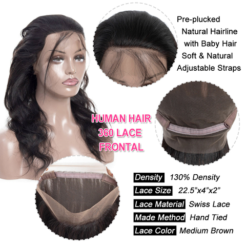 Bling Hair Brazilian Body Wave Closure 360 Lace Frontal With Baby Hair Free Part 100% Remy Human Hair Closure Natural Color Karachi