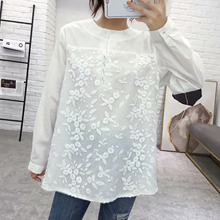 Large Size Dress Korean-style Tencel Joint Lace Deep V-neck Sweater Autumn Versatile Slimming Long-sleeved T-shirt 351817(China)
