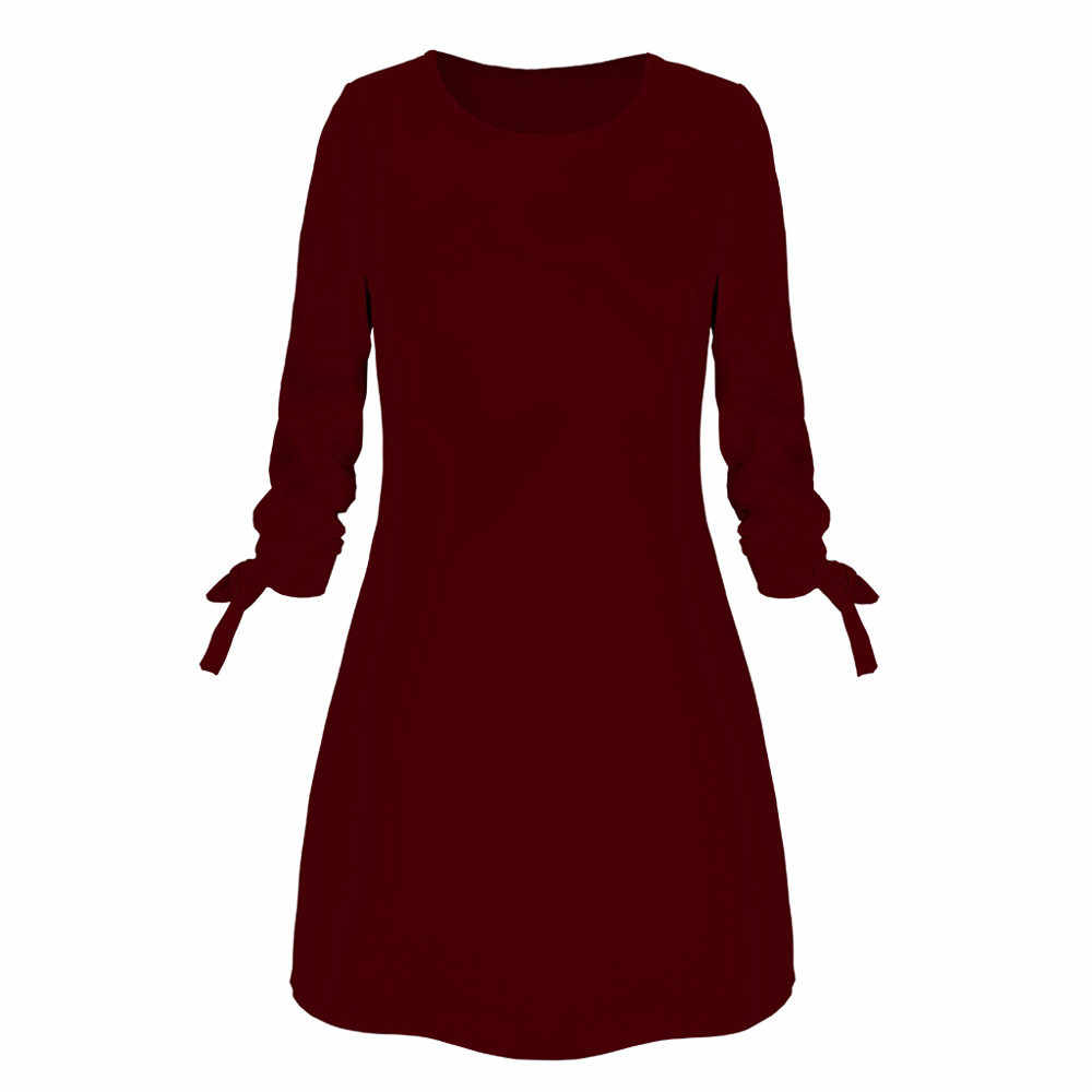 Vrouwen Mode O-hals Effen Boog Elegante Straigth Jurk Voorjaar Losse Mini Jurken Vestidos