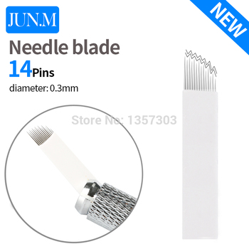 0.3mm 10PCS 14 Pins needle blade permanent makeup Eyebrow tattoo High Low arc blades needles for manual pen microblading