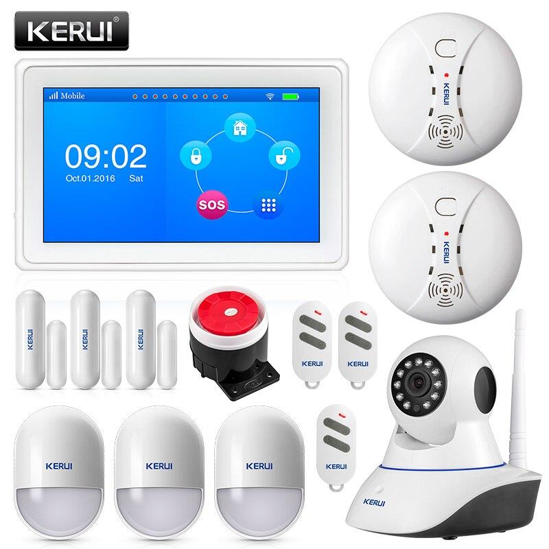 Système antivol KERUI K7 WIFI GSM alarme de sécurité écran couleur TFT 7 pouces avec détecteur de fumée de mouvement aimant de porte et caméra IP