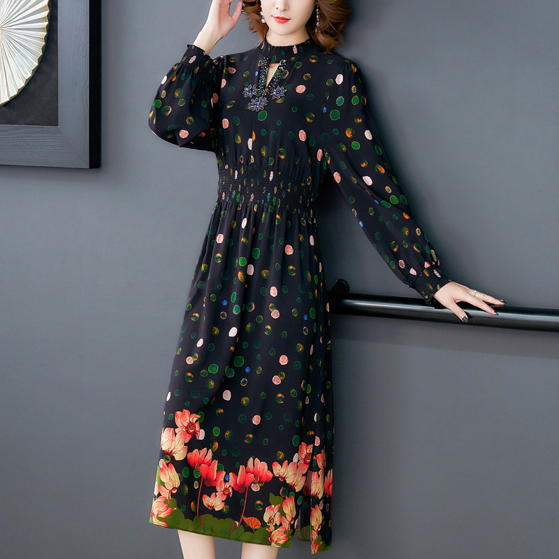 Europe And America 2020 Dress Women's Spring And Autumn Beads Elegant Waist Hugging French Vintage Printed Anti-sang Can Si Qun