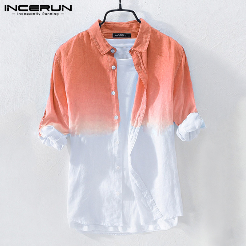 INCERUN Fashion Gradient Shirt Men Hanging Dyed Long Sleeve Cotton High Quality Casual Tops Button Brand Shirts Men Camisa 2019