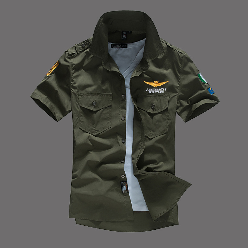 New Air Force One Shirts Men Cotton Short Sleeve Army Green MA1 Men's Military Shirt Mbroidery Slim Fit Big Size Summer
