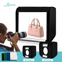 Studio Photo à domicile 40cm/60cm, chambre à lumière Led, tente à lumière pliable avec 4 couleurs d'arrière-plan pour la photographie de produits