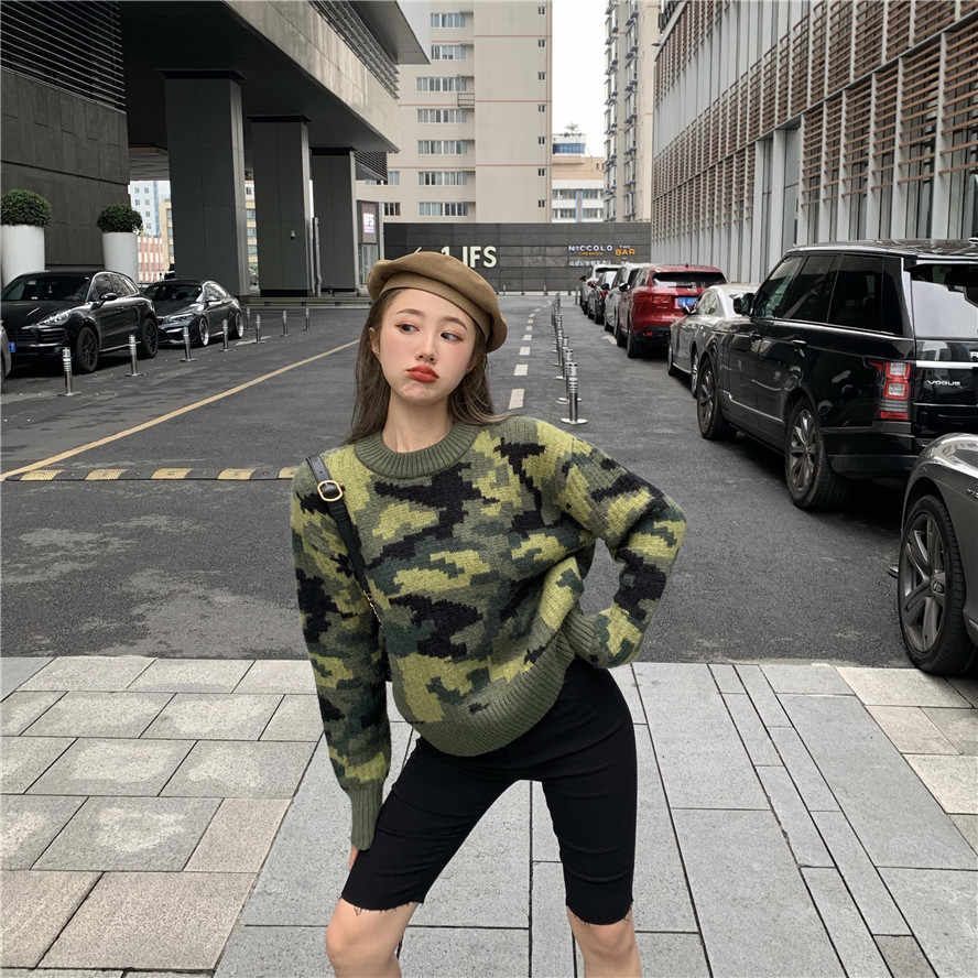 2019 Autumn & Spring New Arrival Vintage Camouflage Sweater Long-sleeved Shirt Women's Short Short Loose Sweater Free Shipping