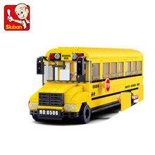Sluban 382Pcs large School Bus 3D Puzzle Model Enlighten Construction Brick Toys For Children minifigures action figure