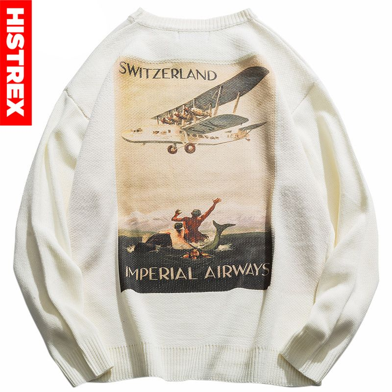 Mens Hip Hop Pullover Sweater Streetwear Harajuku Retro Painting Knitted Striped Sweater Autumn 2020 Sweater Cotton Switzerland