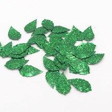 100 unidades/pacote 13*24mm laser folha verde lantejoulas pvc paillettes costura casamento artesanato feminino crianças diy vestuário lentejuelas acessório
