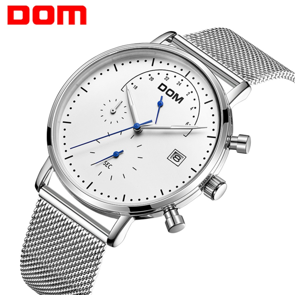 DOM Watch Men Fashion Sport Quartz Clock Mens Watches Top Brand Luxury  Steel Business Waterproof Watch Relogio Masculino M-612
