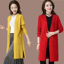 2020 novo outono e inverno médio-longo camisola feminina cardigan solto soild o-pescoço camisola topo moda casual outerwear a97