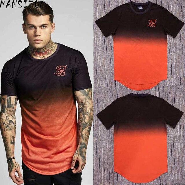 Zomer Katoen Zijde Siksilk T shirt Gradiënt Bedrukte T shirts Korte Mouwen Hip Hop T shirt Shirts Tops Mannen Longline Tees Met