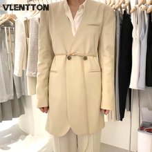2020 Spring Autumn Sexy V-Neck 2 Piece Set Women Long Blazer Jacket Tops And Zipper Pants Suit Female Casual Loose Trousers Coat