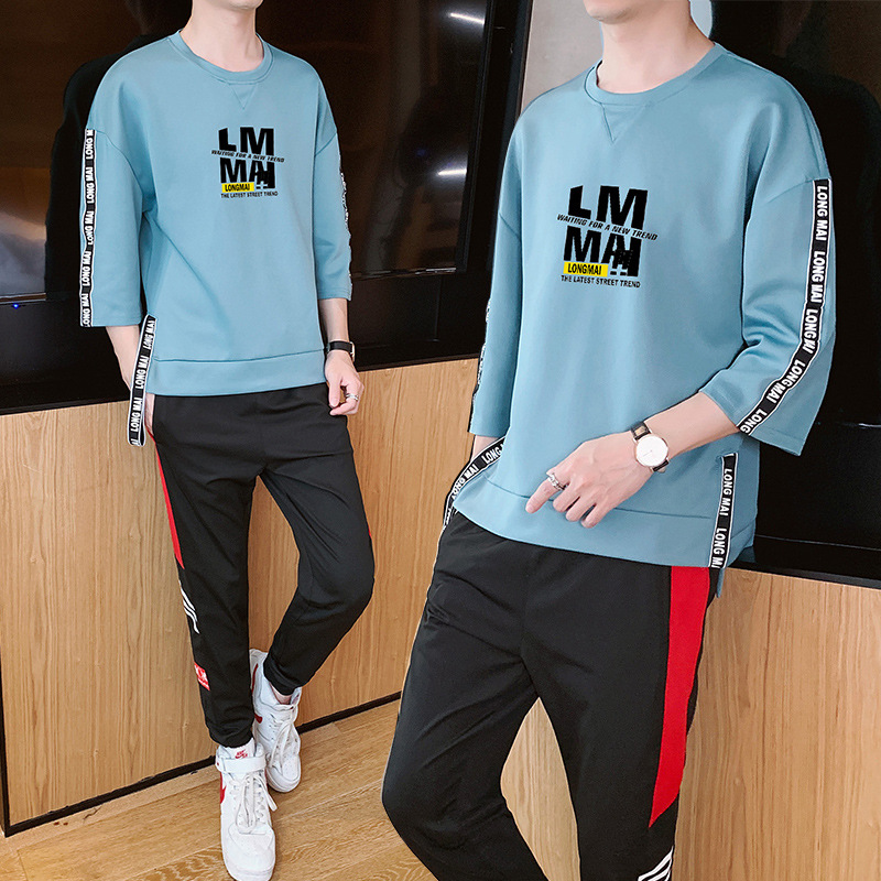Two Pieces A Set Printed Letter Three-quarter-length Sleeve Sleeves T-shirt Trousers Skinny Cool Male STUDENT'S Hoodie Teenager