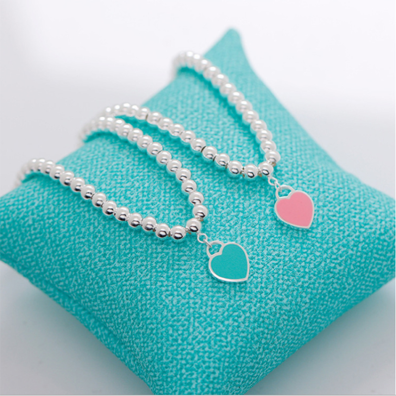 heart bracelet blue pink beads femme gifts Romantic charms pendant necklace female jewelry braslet with original box set