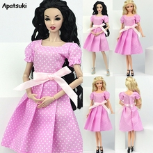 PINK Lovely Summer Dress Doll Skirt Daily Casual Strap Strapless Party Gown Clothes for Barbie Doll Accessories Kid Girl Toy