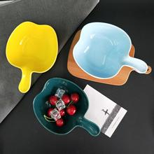 Nordic Apple Shape Ceramic Dinner Plate Irregular Porcelain Handle Solid Glaze Salad Bowl Snack Dishes Baking Tool