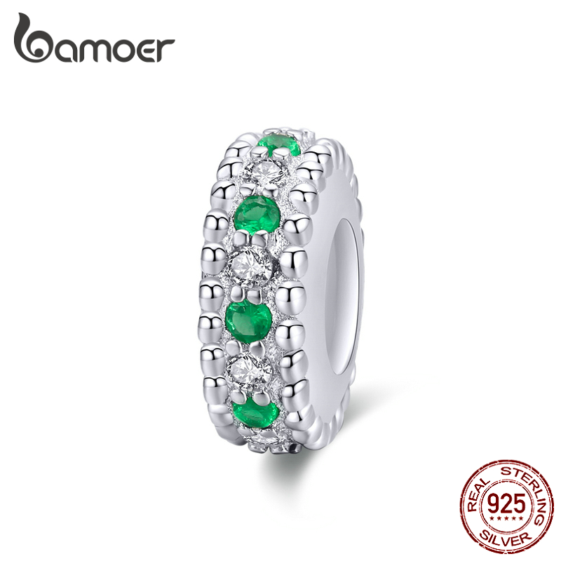 Bamoer Silver 925 Jewelry Green CZ Retro Spacer Charm For Womem Original Bracelet Bangle DIY Fashion Jewelry BSC185