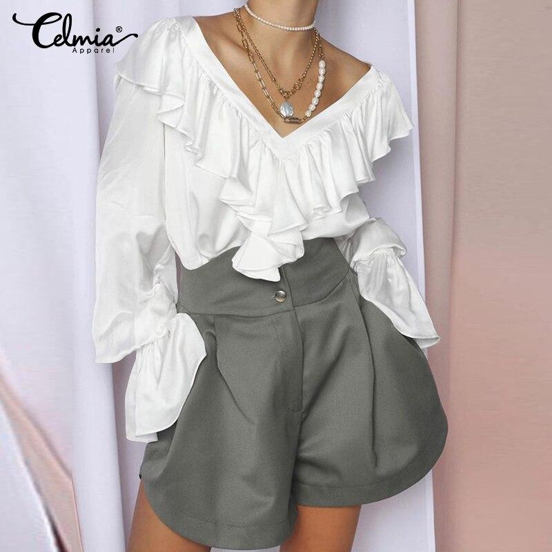 2020 Celmia Spring Women Fashion Long Sleeve Satin Blouse Female V Neck Street Ruffles Shirt Elegant Silk Office Tops Blusas 5XL