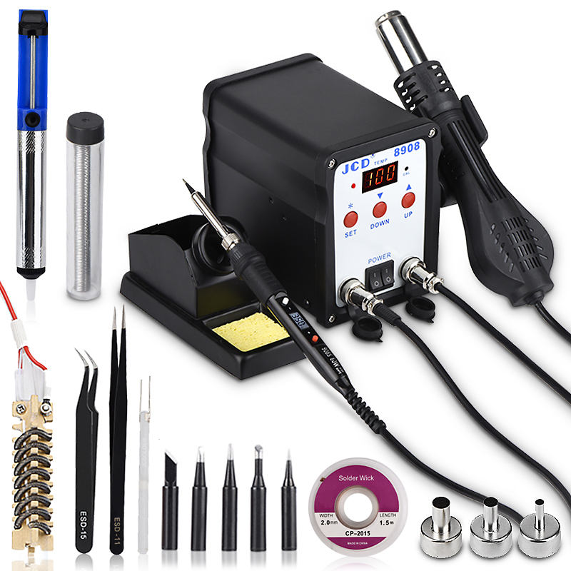 JCD Soldering Station 2 IN 1 Welding Repair Machine 750W Soldering Iron With Hot Air Gun SMD BGA Rework LCD Digital Station 8908