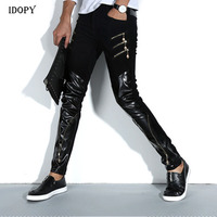 Idopy Fashion Men's Night Club DJ Pants Skinny Patchwork PU Leather Pants With Zippers Punk Style Black Trousers For Men