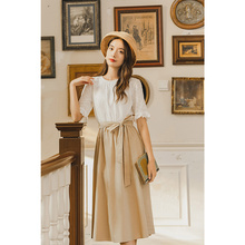 INAMN 2020 Summer New Arrival Short Sleeve Dress With Belt Hollow Out Embroidere
