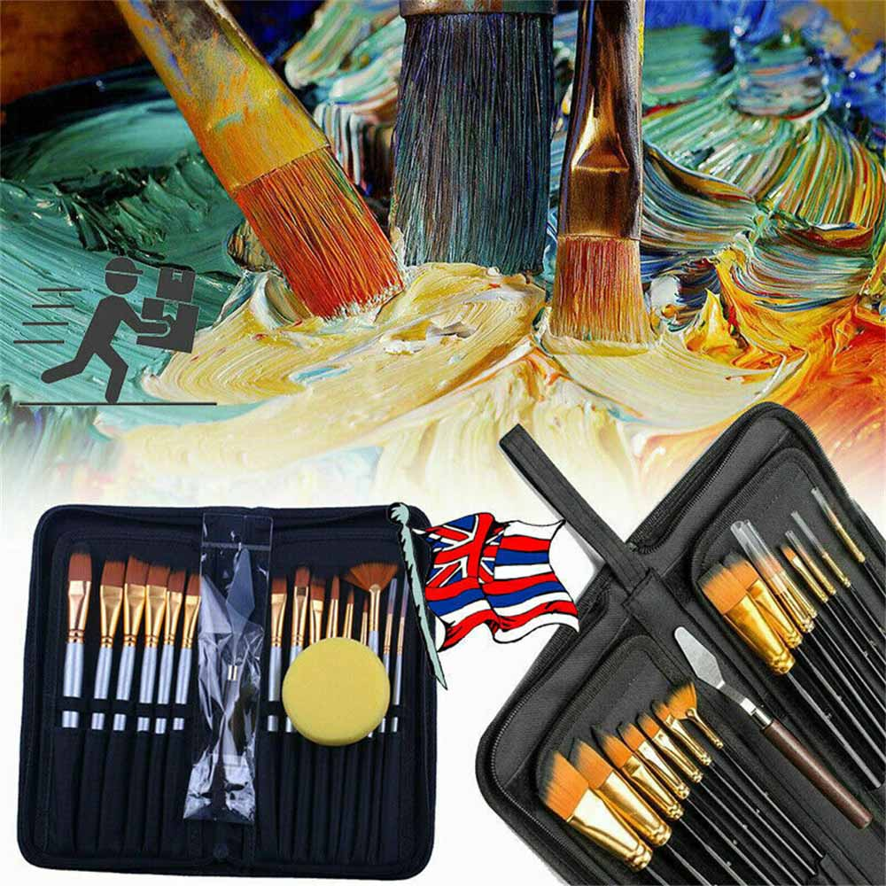 15PCS Professional Makeup Brushes Set Powder Foundation Eyeshadow Make Up Brush Kit Cosmetics Synthetic Hair Leather Case set